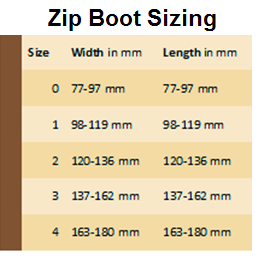 Zip boot sizing chart