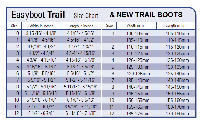 sizing chart new trail boots